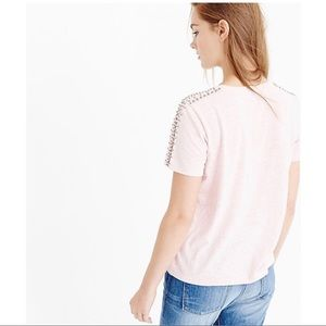 J. Crew Tops - J Crew Beaded Shoulder Tee